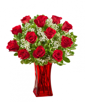 In Love with Red Roses in Vase