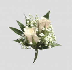 Double White Rose Boutonniere