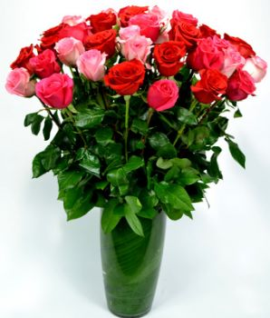 Exquisite 36 Assorted Pink and Red Roses