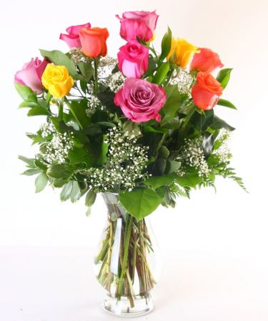 Mixed One Dozen Roses In Vase